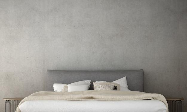 Makiety wystrój mebli w minimalistycznym stylu wnętrza sypialni renderowanie 3d