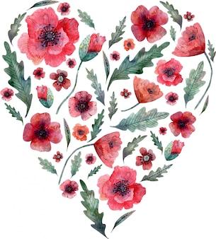 Makowe serce. czerwone kwiaty i zielone liście na kształcie serca na białym tle. akwarela ilustracja.