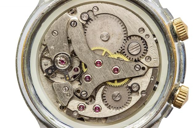 Makro mechanizmu zegar strzał, widok z góry