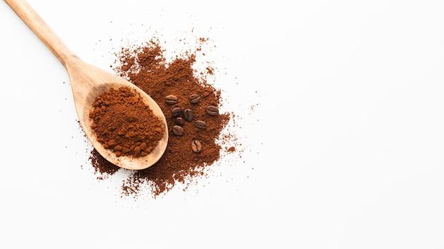 Makro miarka z kawy i miejsca kopiowania