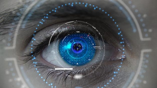 Makro niebieski neon futurystyczny plan oka hud