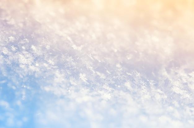 Makro obraz płatki śniegu, selektywne focus. śnieg tło.