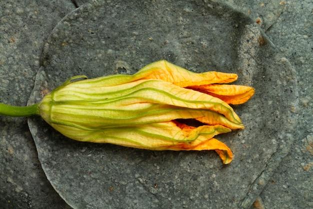 Makro suszonych kwiatów dyni ze szpinakiem tortilli