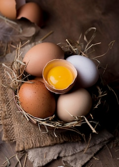 Makro świeże jaja kurze