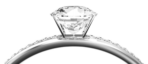 Makro widok obrączki platynowej z diamentami na białym tle