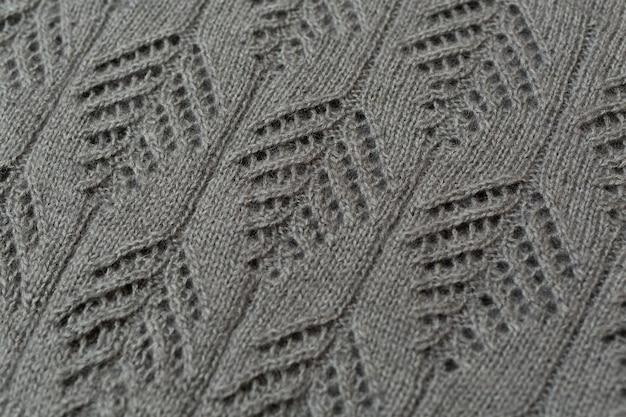 Makro wzór swetra damskiego z dzianiny
