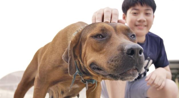 Mała azjatykcia chłopiec bawić się z ślicznym psem.