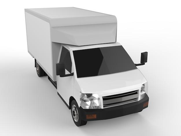Mała biała ciężarówka. usługa dostawy samochodów. dostawa towarów i produktów do punktów sprzedaży detalicznej. renderowanie 3d.