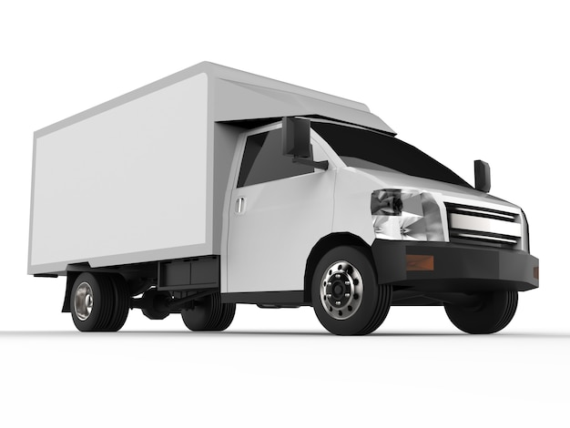 Mała biała ciężarówka. usługa dostawy samochodów. dostawa towarów i produktów do punktów sprzedaży detalicznej.