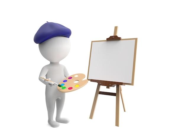 Mała biała osoba malująca na białym