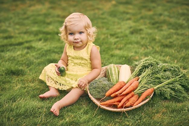 Mała blond dziewczynka w żółtej sukience, boso, trzyma w dłoni ogórek, siada na trawie obok dużego kosza z warzywami. zdrowe jedzenie, zielone wegetariańskie jedzenie.
