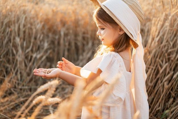Mała blondynka w beżowej sukni muślinowej trzyma ziarna pszenicy w dłoni w polu pszenicy na zachód słońca.