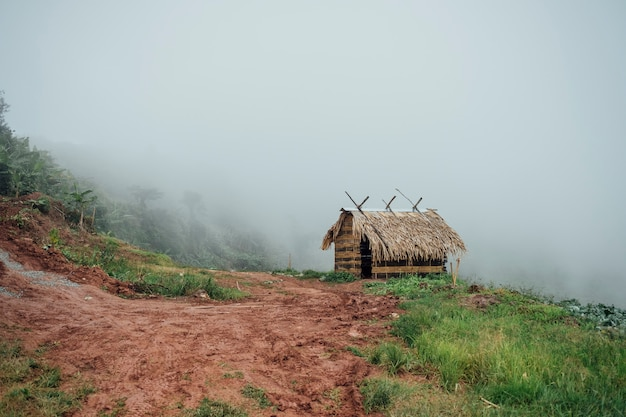 Mała chata na odpoczynek rolnika we mgle