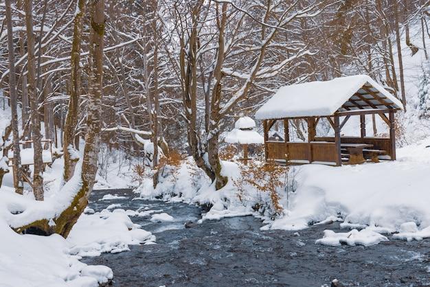 Mała drewniana altana w głębi zimowego lasu w pobliżu zimnego górskiego potoku, obok którego przechodzą utopieni ludzie, wspinając się z leśnej doliny
