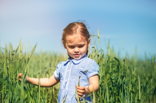 Mała dziewczynka bada rośliny w terenie