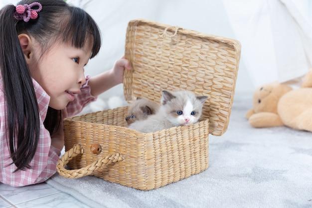 Mała dziewczynka bawić się z kotem w domu, przyjaciela statku pojęcie.