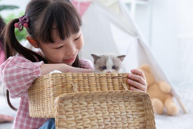 Mała dziewczynka bawić się z kotem w drewnianym koszu w domu, przyjaźni pojęcie.