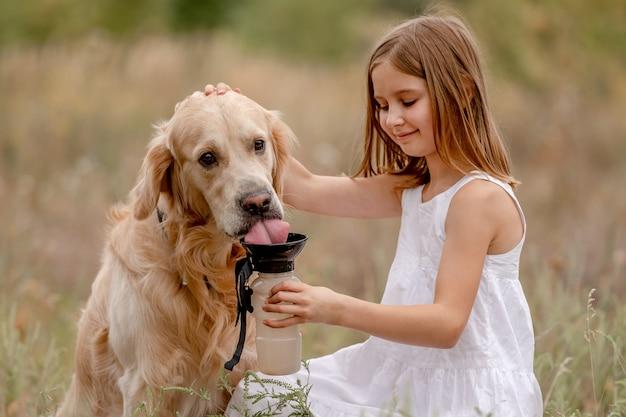 Mała dziewczynka daje wodę golden retriever psu w polu z butelki. słodkie dziecko dba o psiaka w naturze