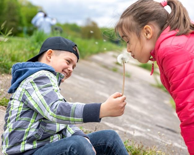Mała dziewczynka dmucha na dmuchawiec trzymany przez chłopca.
