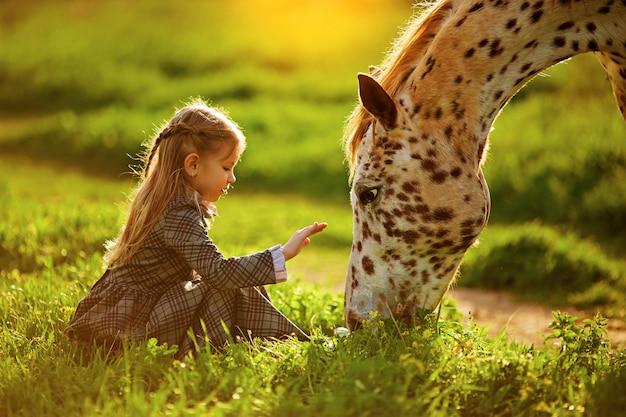 Mała dziewczynka i koń