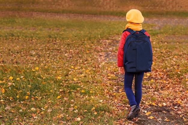 Mała dziewczynka idzie do szkoły na tle jesiennej polany z opadłymi liśćmi