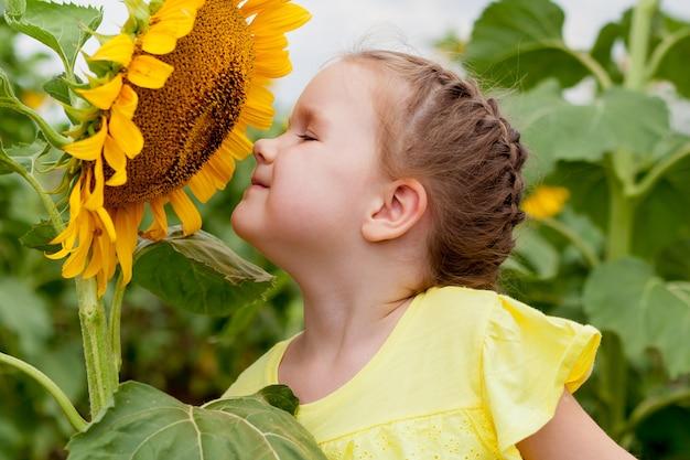 Mała dziewczynka pachnąca słonecznikiem