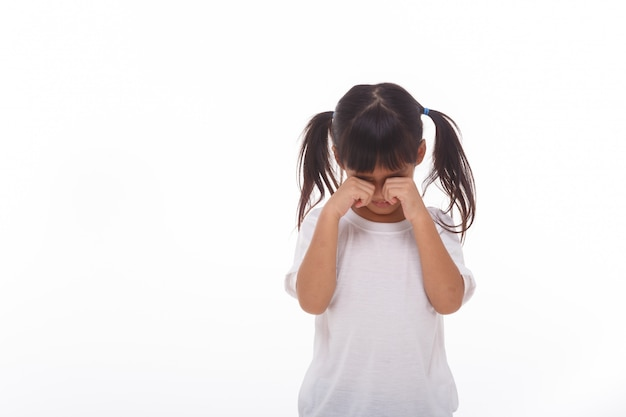 Mała dziewczynka płacze na białej ścianie.