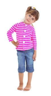 Mała Dziewczynka Pozuje Na Białym Tle Premium Zdjęcia