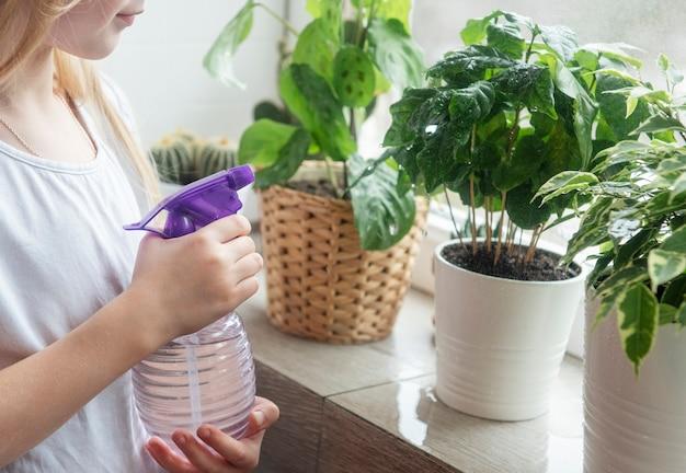 Mała dziewczynka rozpryskuje wodę na rośliny domowe