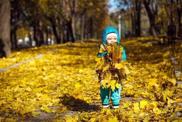 Mała dziewczynka rzuca jesienne liście