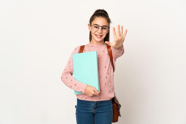 Mała dziewczynka student na białym tle licząc pięć palcami