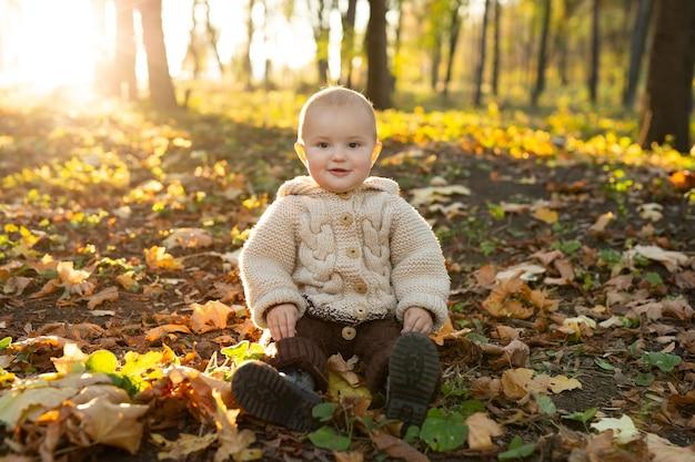 Mała dziewczynka w dzianinowym garniturze siedzi w lesie w żółtych liściach.