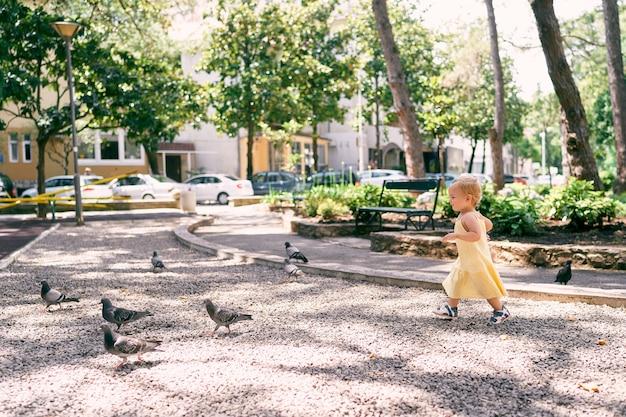 Mała dziewczynka w sukience idzie żwirową ścieżką w parku do gołębi