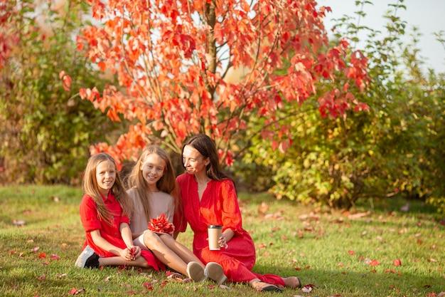 Mała dziewczynka z mamą outdoors w parku przy jesień dniem