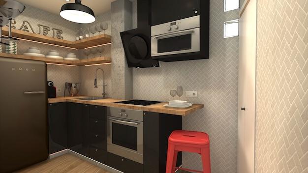Mała kuchnia w stylu industrialnym
