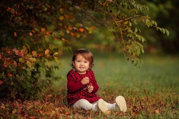 Mała piękna dziewczyna w czerwonej sukience siedzi na jesiennych liściach w parku