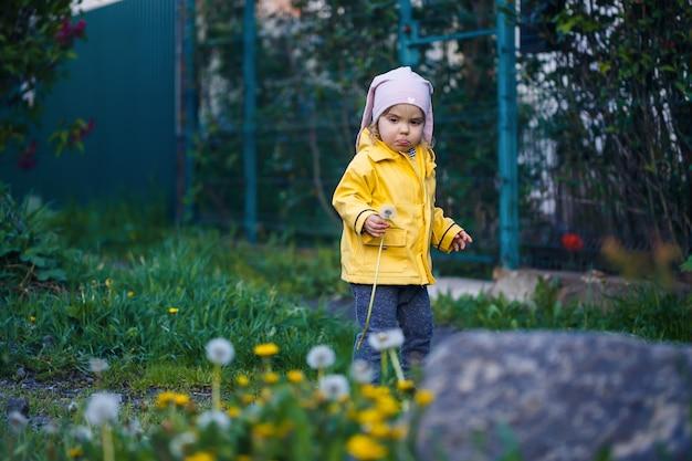 Mała piękna dziewczynka w różowej czapce i żółtej kurtce siedzi na polu żółtych dmuchawców i kwiatów