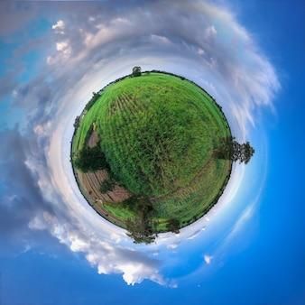 Mała planeta bańczasta panorama 360 stopni widok trzcina cukrowa pole.