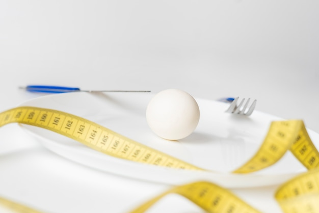 Mała porcja jedzenia. anoreksja i dieta koncepcja żywności f