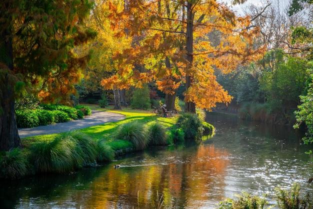 Mała rzeka przepływająca przez ogrody botaniczne w mieście-ogrodzie