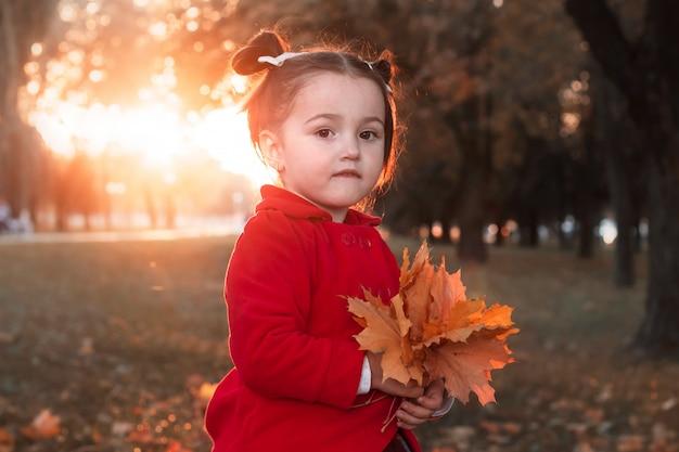 Mała słodka dziewczyna na zmierzchu bawić się z liśćmi w jesień parku.