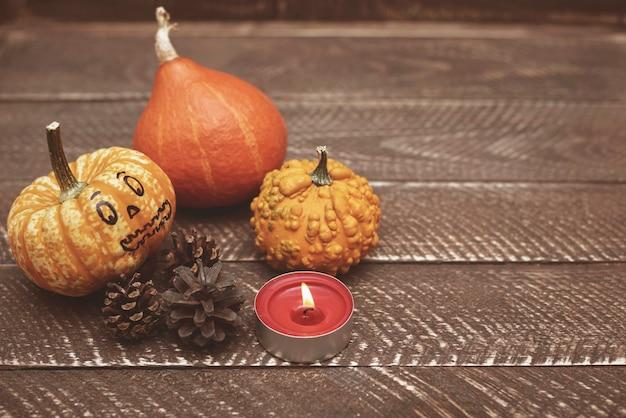 Mała świeczka rozświetla jesienną kompozycję
