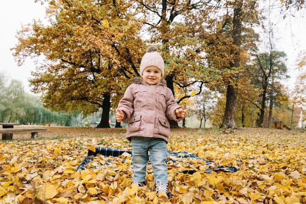 Mała uśmiechnięta dzieciak pozycja na jesieni ulistnieniu w parku