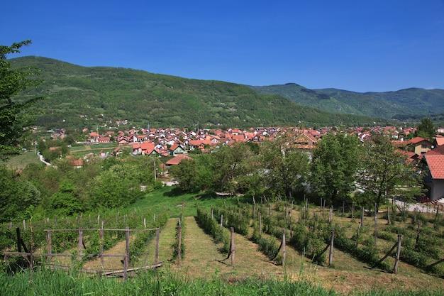 Mała wioska w naturalnym krajobrazie