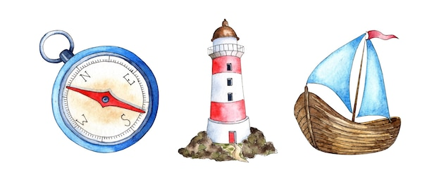 Malarstwo akwarelowe kompas latarnia morska żaglówka naval wsparcie własność marynarza!
