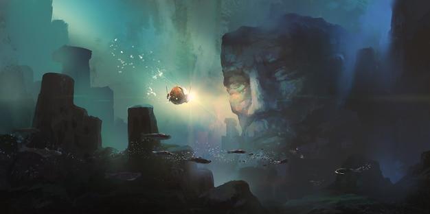 Malarstwo cyfrowe, starożytne cywilizacje, które zatonęły w morzu.