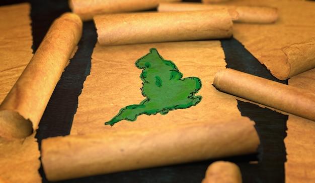 Malarstwo mapa anglii rozwijanie starego przewijania papieru 3d