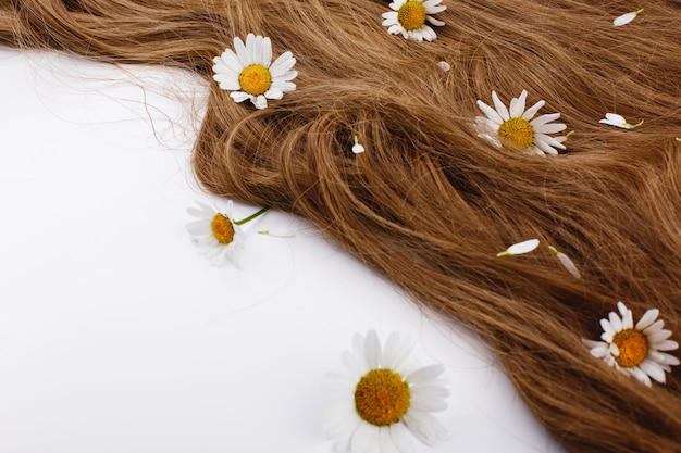 Małe białe kwiaty leżą na brązowych włosach