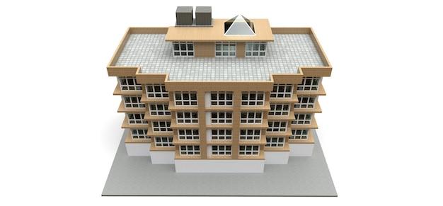 Małe biało-beżowe mieszkanie z windą i garażem. renderowanie 3d.