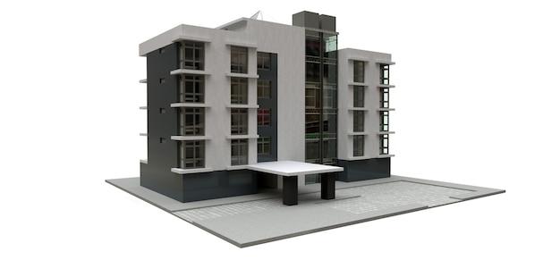Małe biało-szare kondominium z windą i garażem
